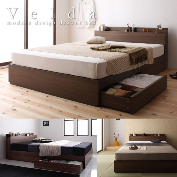 画像1: ウォールナット柄 棚・コンセント付き収納ベッド【Velda】ヴェルダ