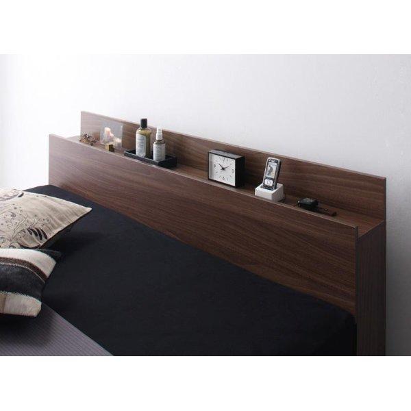画像3: ウォールナット柄 棚・コンセント付き収納ベッド【Velda】ヴェルダ
