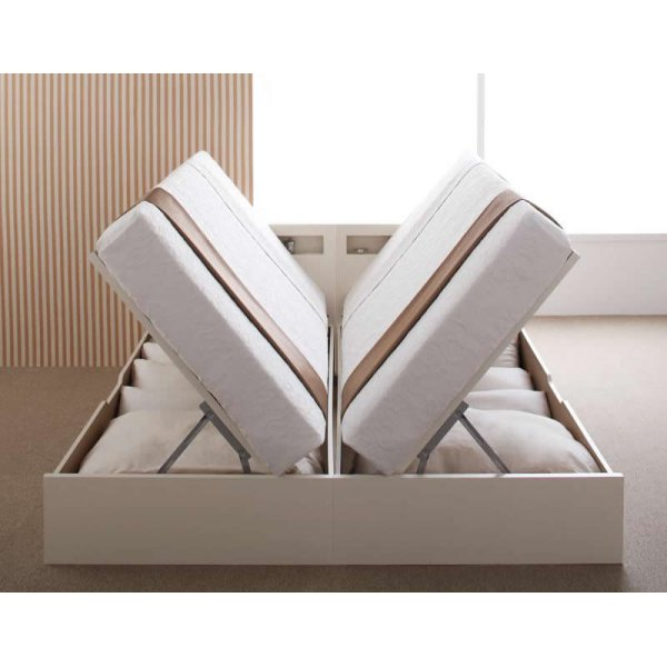 画像4: 日本製組立設置付き!おしゃれ棚タイプ・ガス圧式跳ね上げ大容量収納ベッド【Grand L】グランド・エル