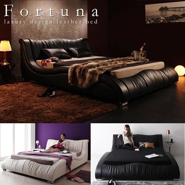 高級レザー仕様デザイナーズベッド【Fortuna】フォルトゥナ