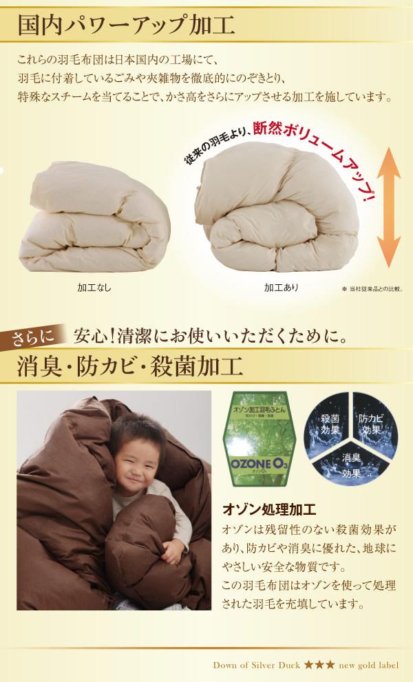 日本製防カビ消臭 ダックダウン ニューゴールドラベル 羽毛掛布団【Alice】アリーチェの激安通販