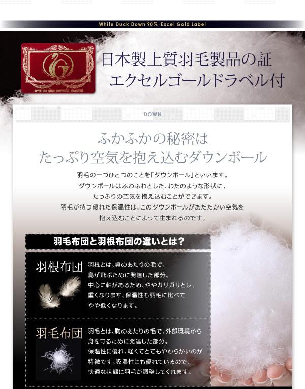 【DOWNPASS認証】フランス産ホワイトダックダウンエクセルゴールドラベル羽毛掛布団の激安通販