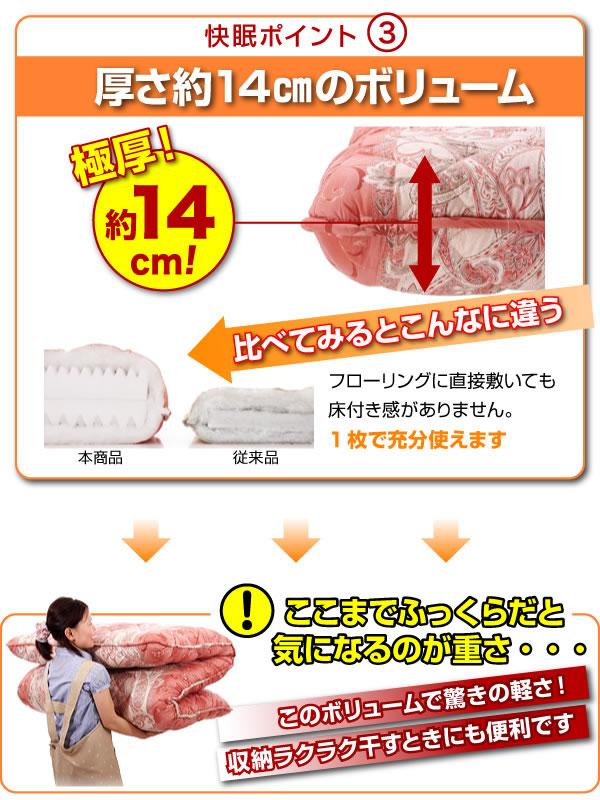 抗菌防臭防ダニ四層式ボリューム敷き布団説明7