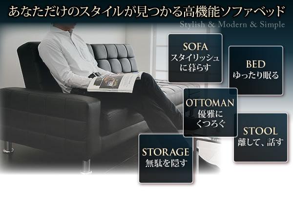 収納付きマルチソファベッド【MONDO】モンド 説明2