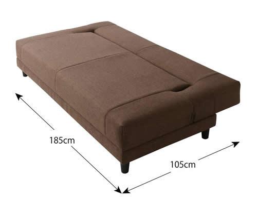 寝心地抜群コイルスプリングソファーベッド ベッド時サイズ