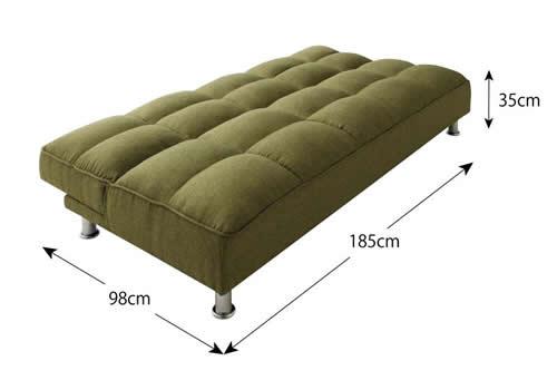 ファブリックタイプシンプルソファベッド ベッド時サイズ