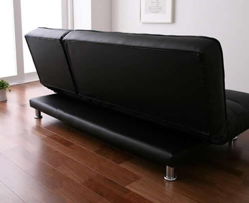 3スタイルレザーソファーベッド 背面もレザー