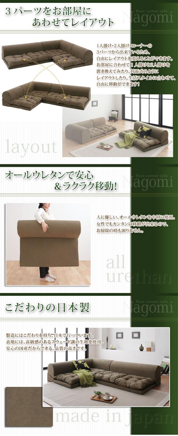 フロアコーナーソファ【Nagomi】なごみ 説明3