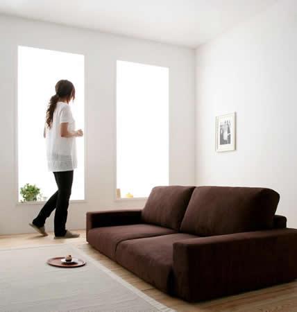 ファブリック仕様 モダンローソファー 選べる5サイズ お部屋がすっきり
