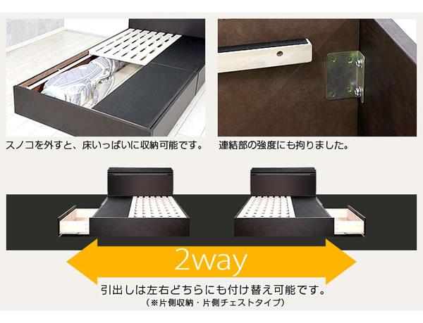 タモ突板仕様BOXタイプヘッドレス収納ベッド アンゼリカ3の激安通販