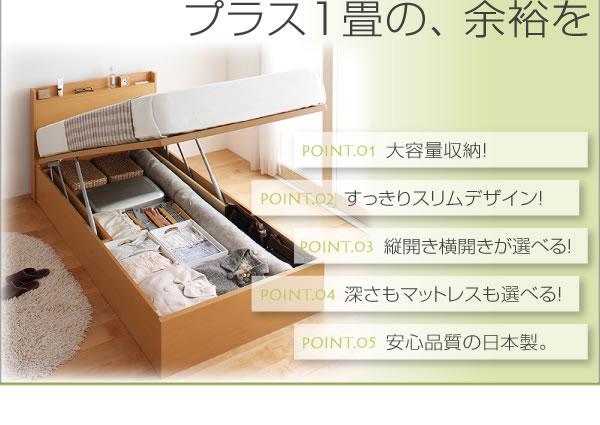 国産跳ね上げ式収納ベッド・スリム棚タイプ【Freeda】フリーダの激安通販