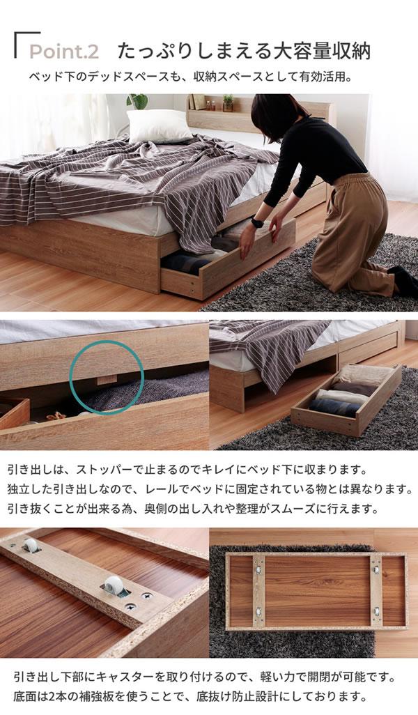 高耐久メラミン化粧板採用!シンプルデザイン収納ベッド【Esteban】 お買い得の激安通販