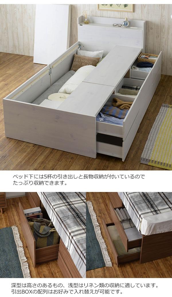 格安BOX型チェストベッド【Lorna】ローナ 収納部配列変更対応 シングルベッド限定の激安通販