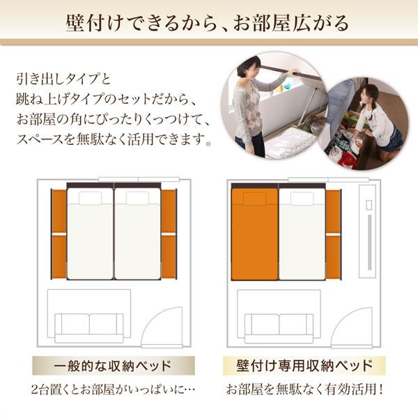 ガス圧式跳ね上げ収納&BOX型引き出し収納の連結ベッド【Parlare】パルラーレの激安通販