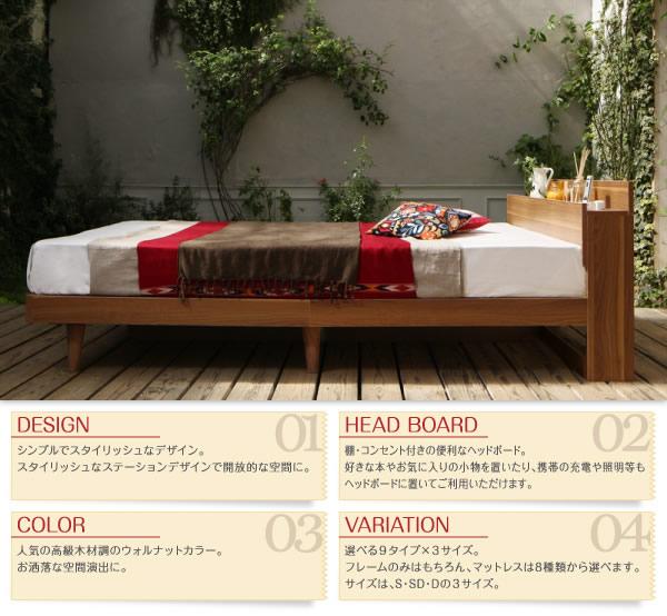 すのこも選べる!棚・コンセント付きデザインベッド【Lombardy】ロンバルディを通販で激安販売