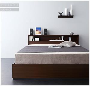 スクエア棚・コンセント付き収納ベッド【Sign】サイン
