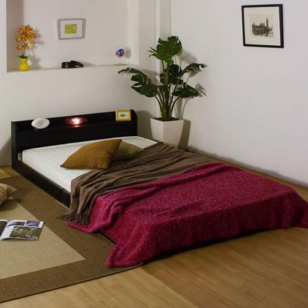 棚 コンセント 照明付フロアベッド268ロングサイズ ブラック